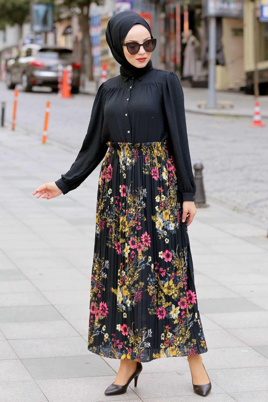 Neva Style - Black Hijab Daily Dress 1834S