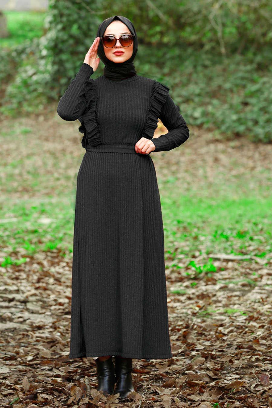 Fırfır Detaylı Siyah Tesettür Elbise 4032S