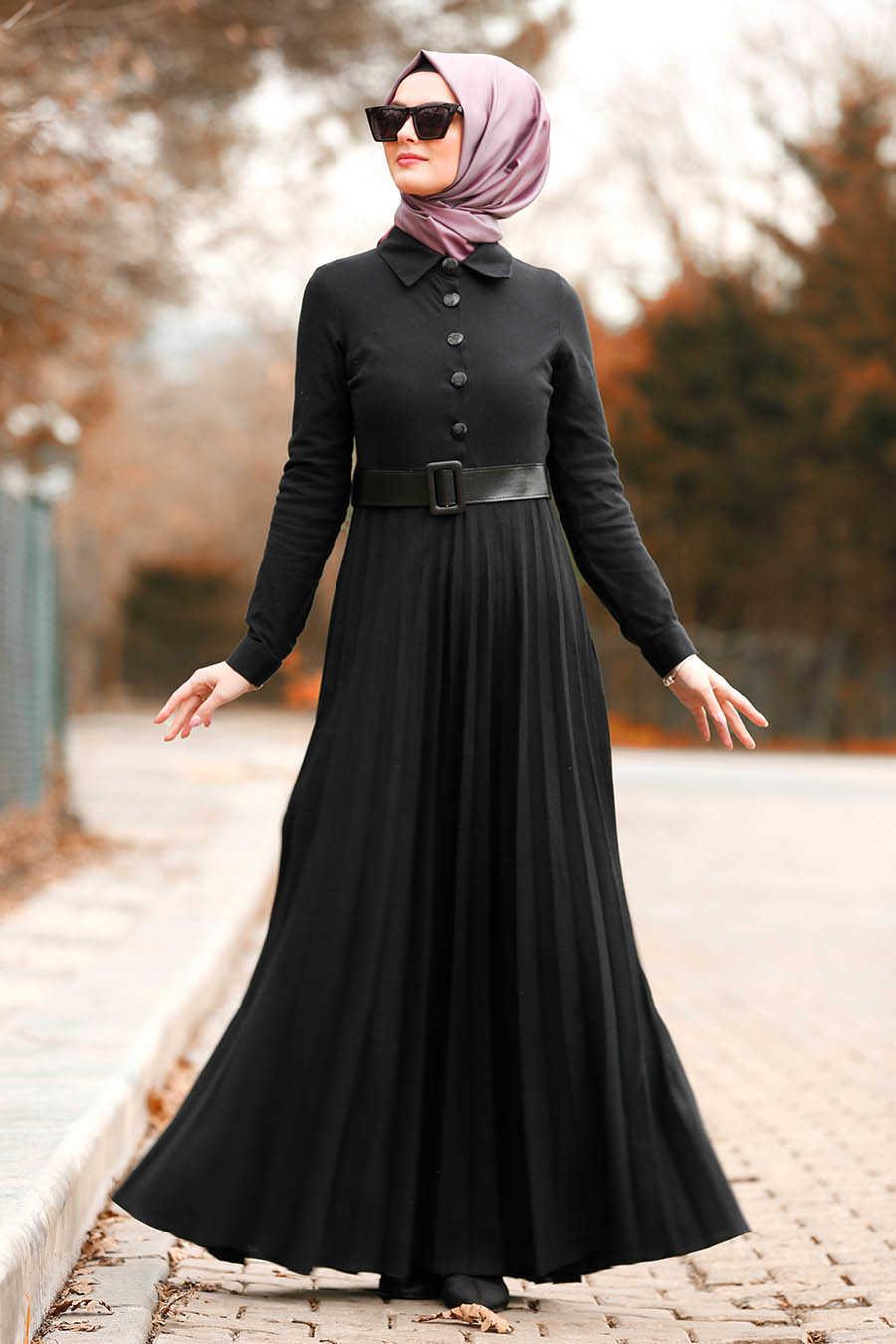 Düğmeli Kemerli Siyah Tesettür Elbise 8396S