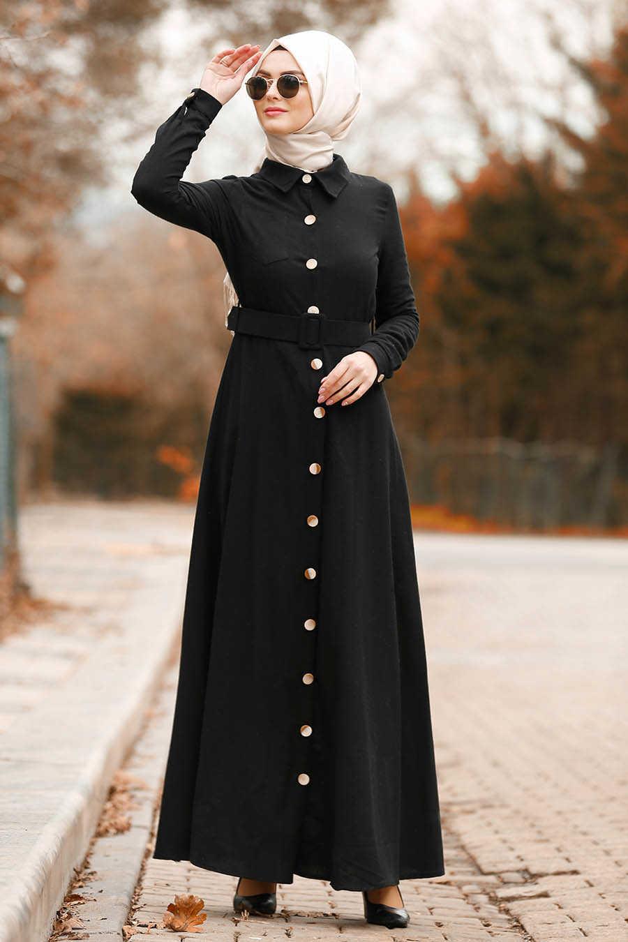 Düğmeli Kemerli Siyah Tesettür Elbise 8409S