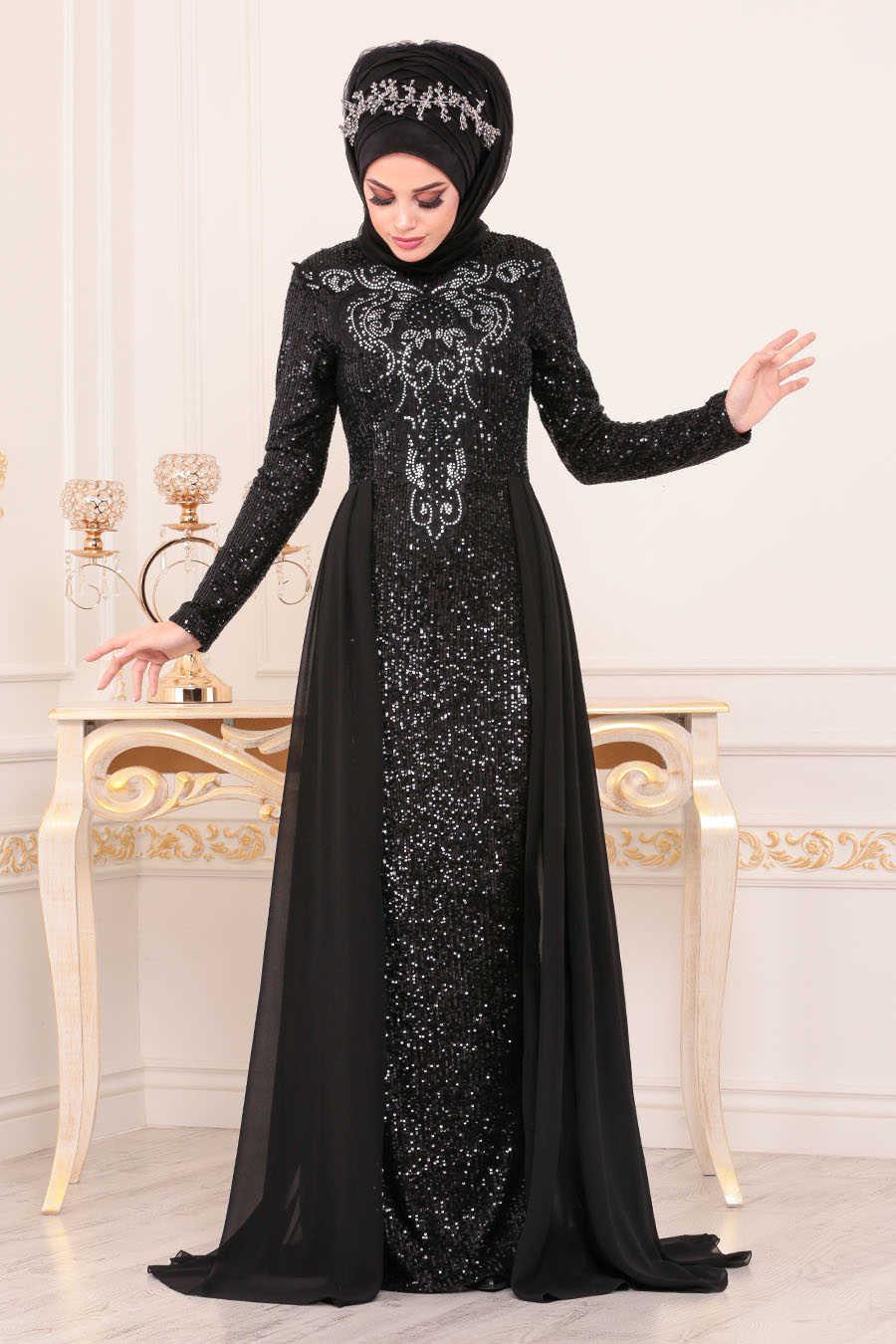 Pul Payetli Siyah Tesettür Abiye Elbise 25724S