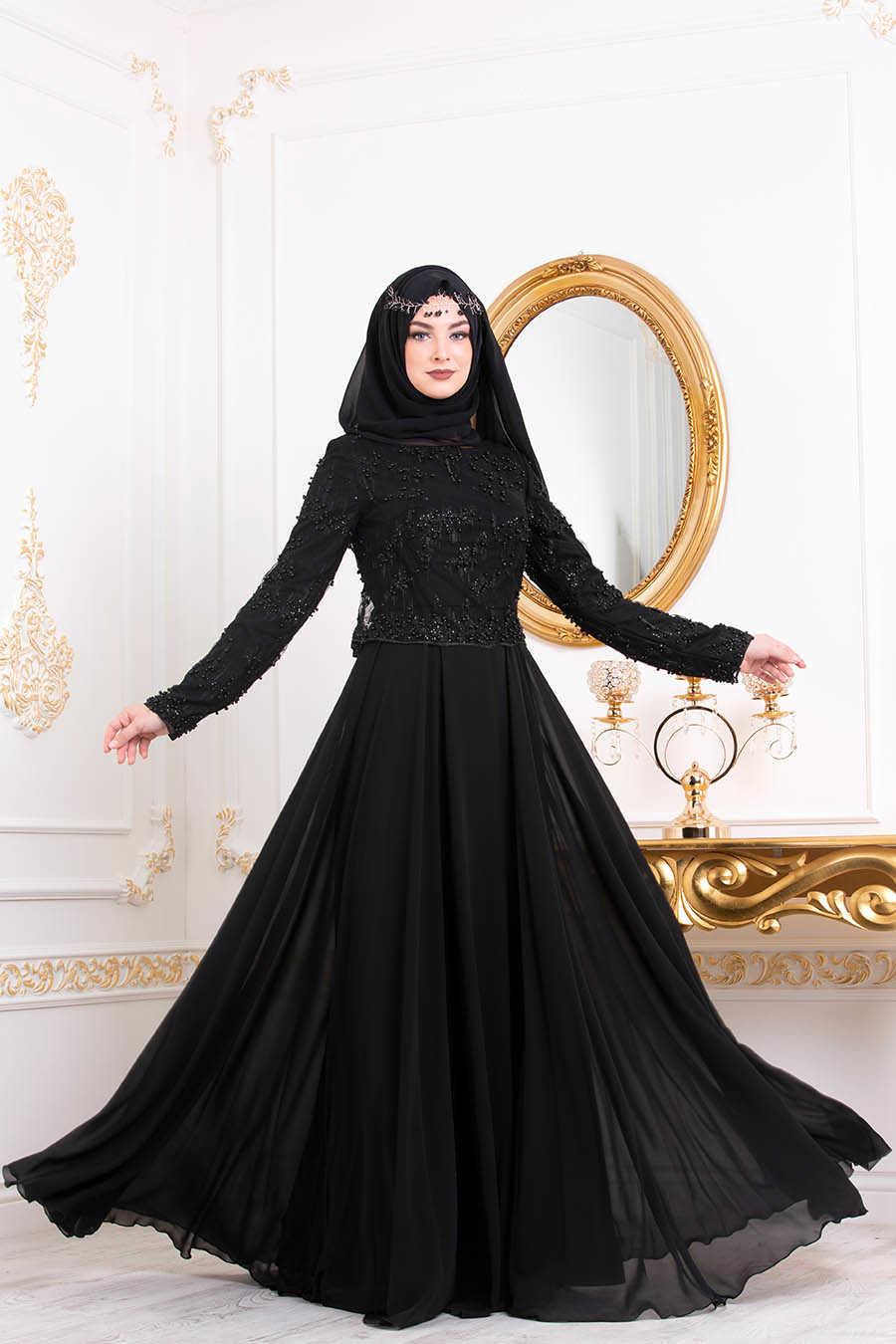 Boncuk Detaylı Siyah Tesettürlü Abiye Elbise 4572S