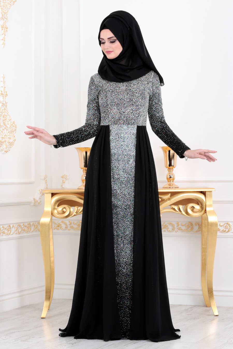 Simli Siyah Tesettür Abiye Elbise 90020S