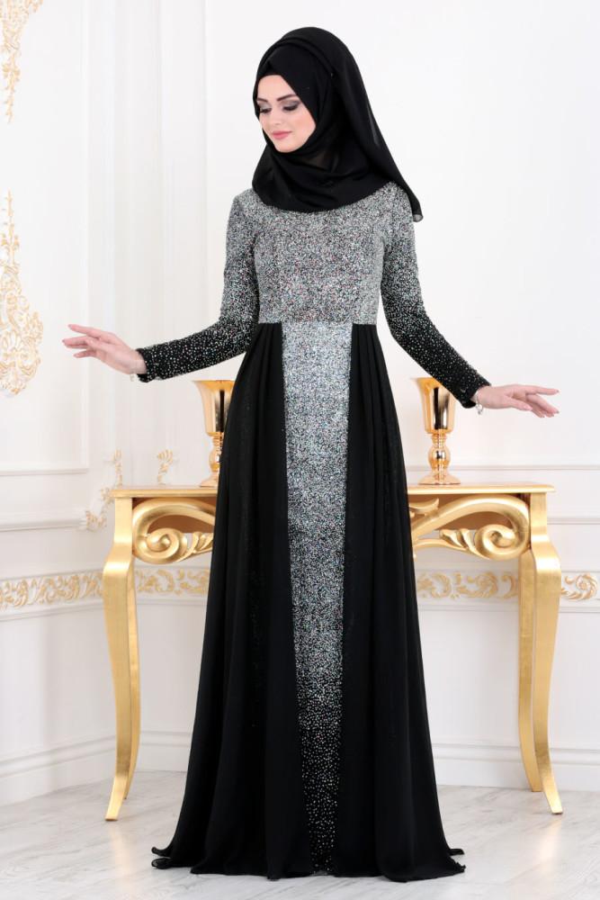 Simli Siyah Tesettür Abiye Elbise 90020S - Thumbnail