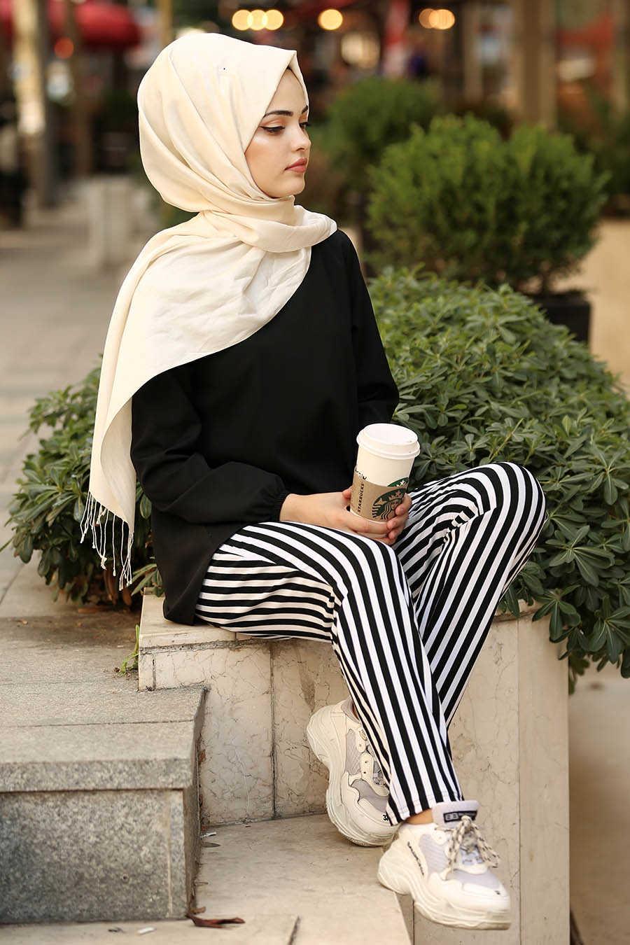 Çizgili Siyah Tesettür Pantolon 20801S
