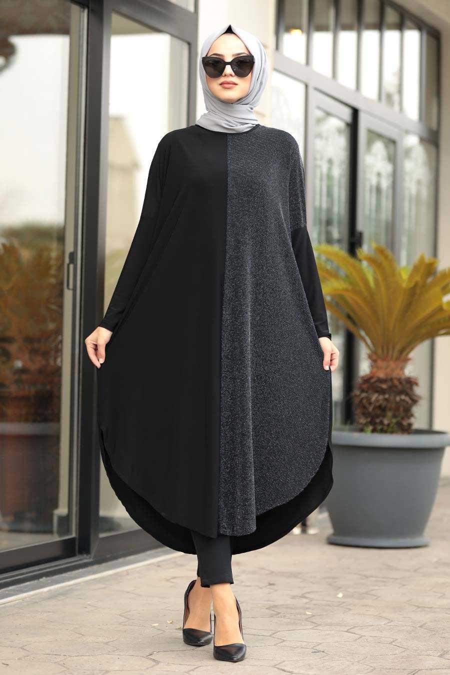 neva style black hijab tunıc 49430s