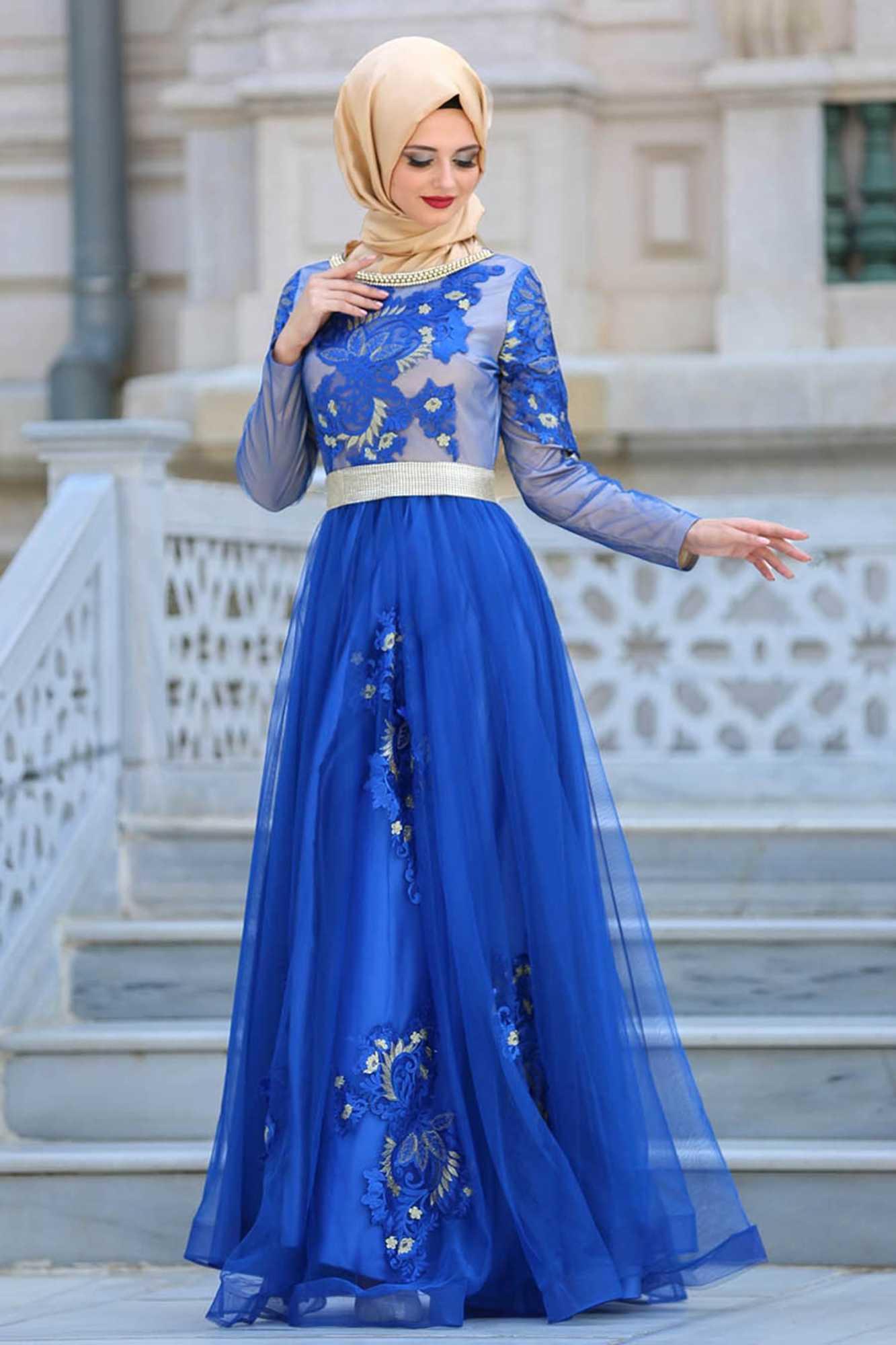 Yakası Taşlı Mavi Tesettür Abiye Elbise 2757M