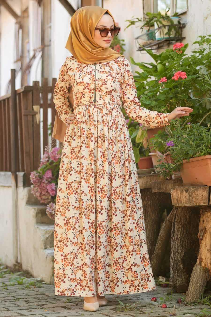 Çiçek Desenli Bej Tesettür Elbise 3375BEJ