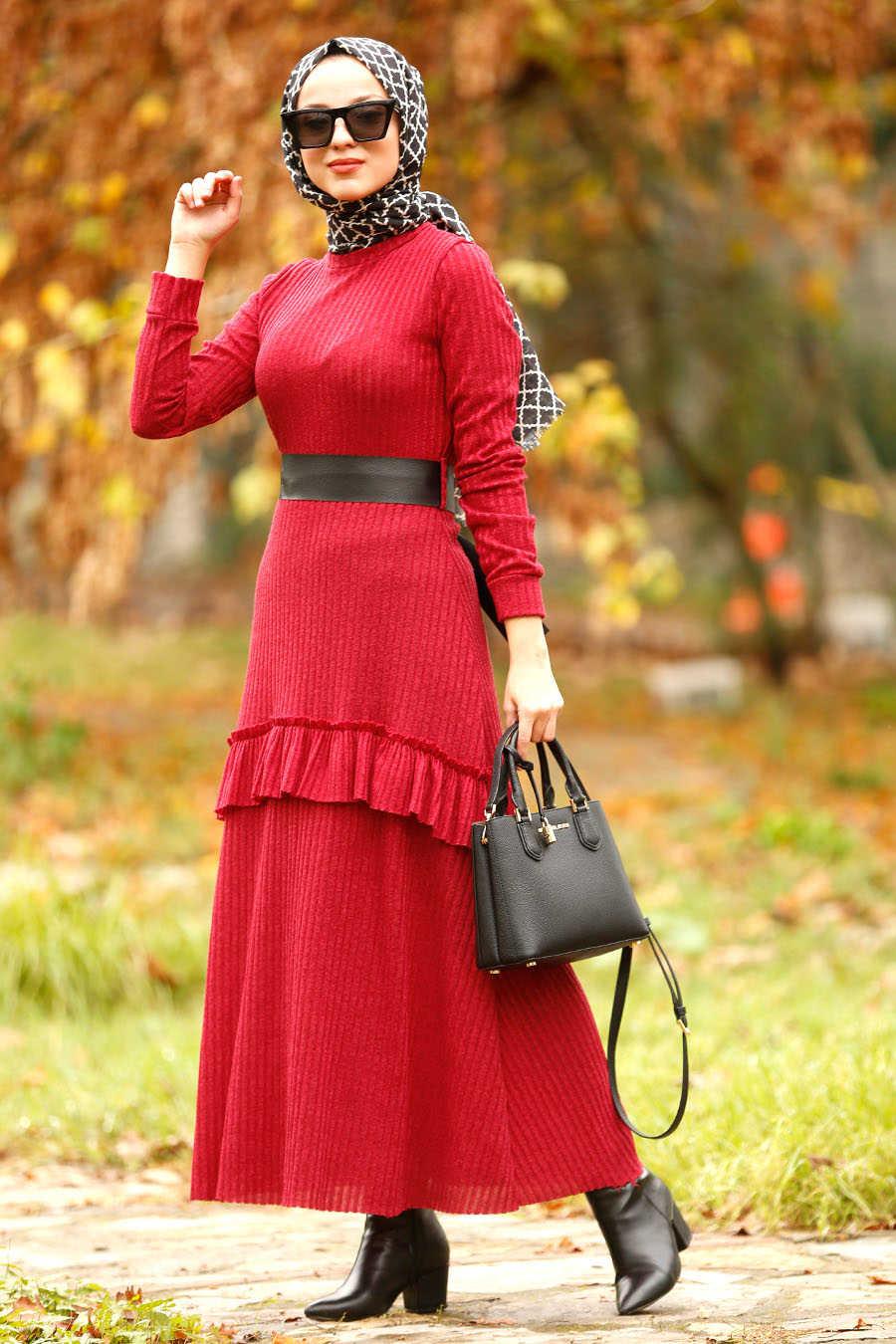 Fırfırlı Bordo Tesettür Elbise 4021BR