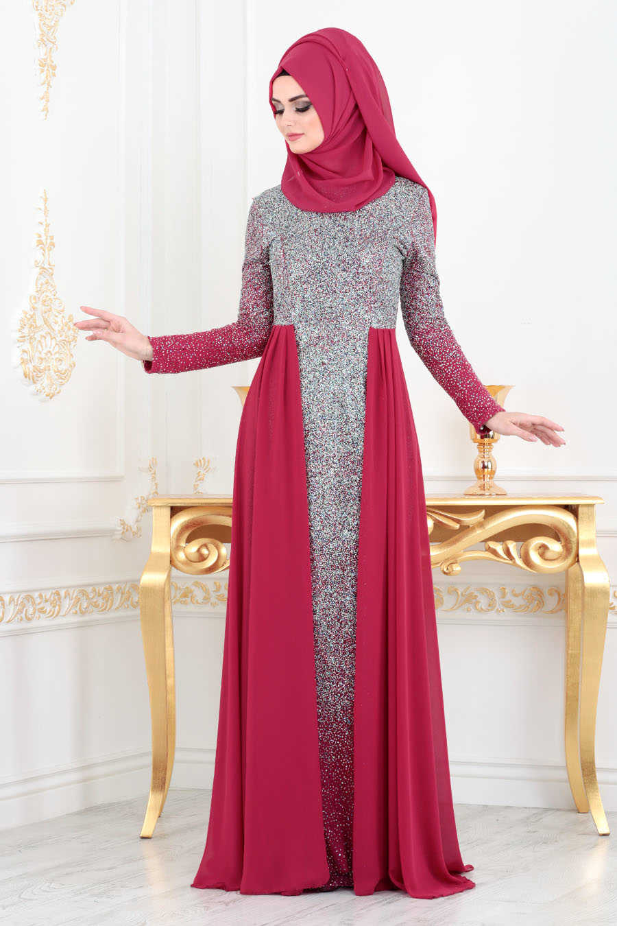 Simli Fuşya Tesettür Abiye Elbise 90020F