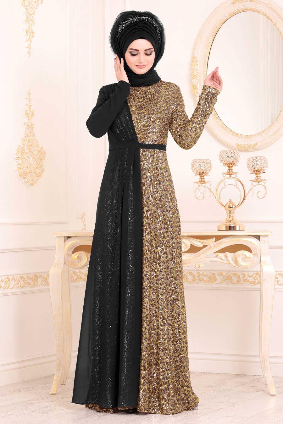 Pul Payetli Gold Tesettürlü Abiye Elbise 85590GOLD