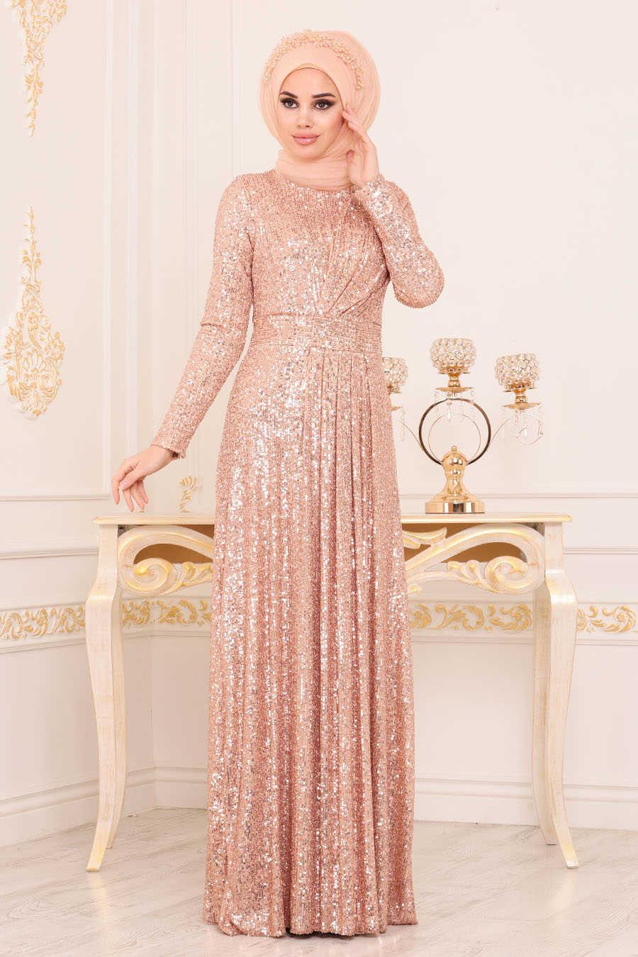 Pul Payetli Gold Tesettür Abiye Elbise 9106GOLD
