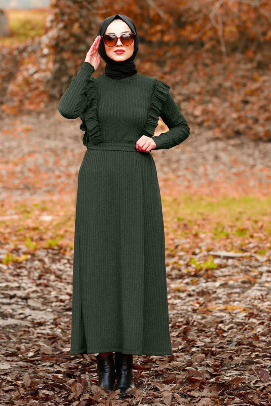 Fırfır Detaylı Yeşil Tesettür Elbise 4032Y