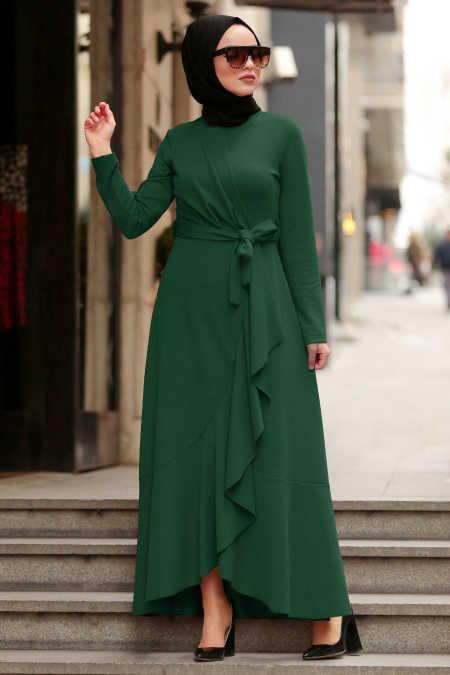 Yeşil Tesettür Çapraz Elbise 4041Y