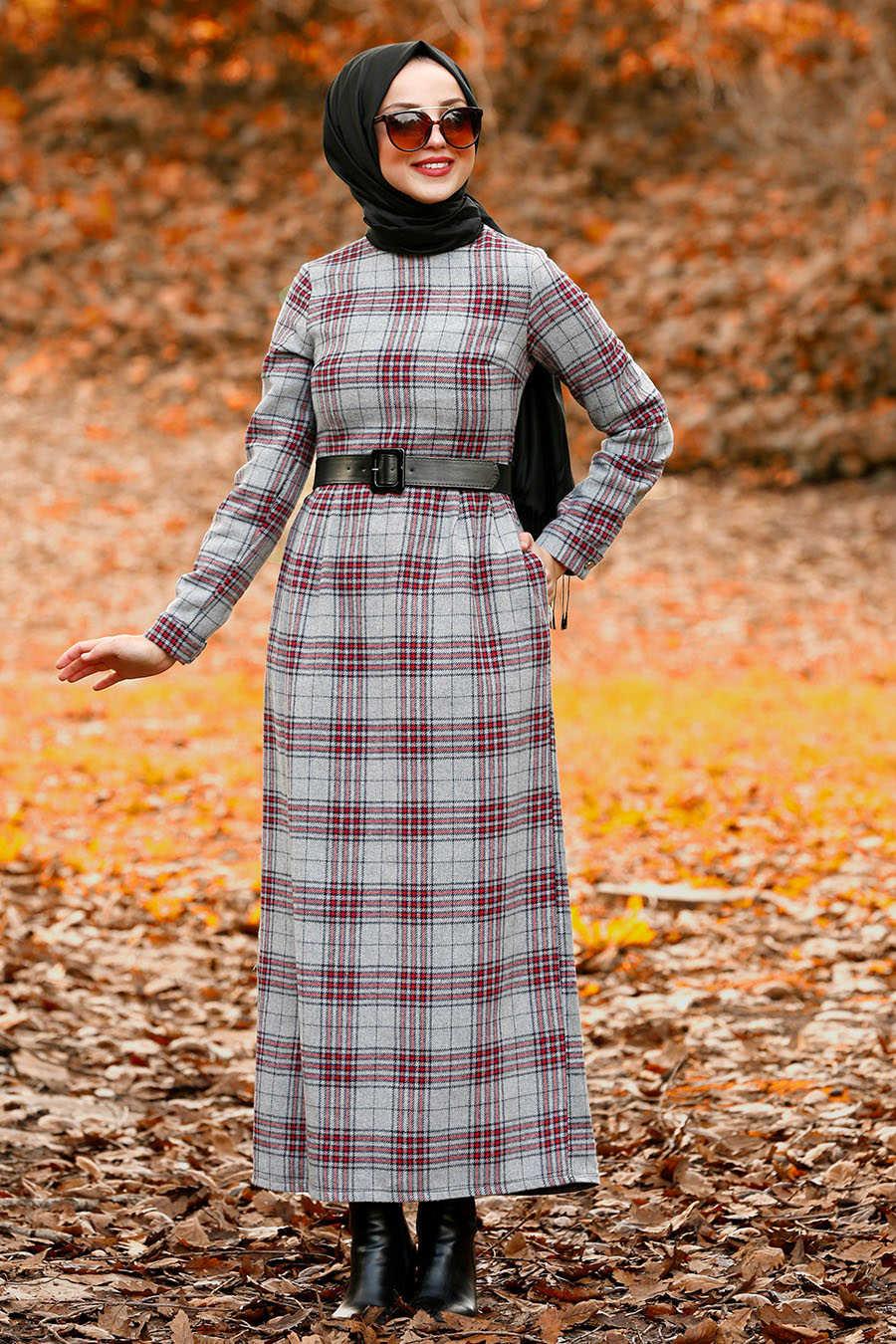 Kemerli Ekoseli Gri Tesettür Elbise 4123GR