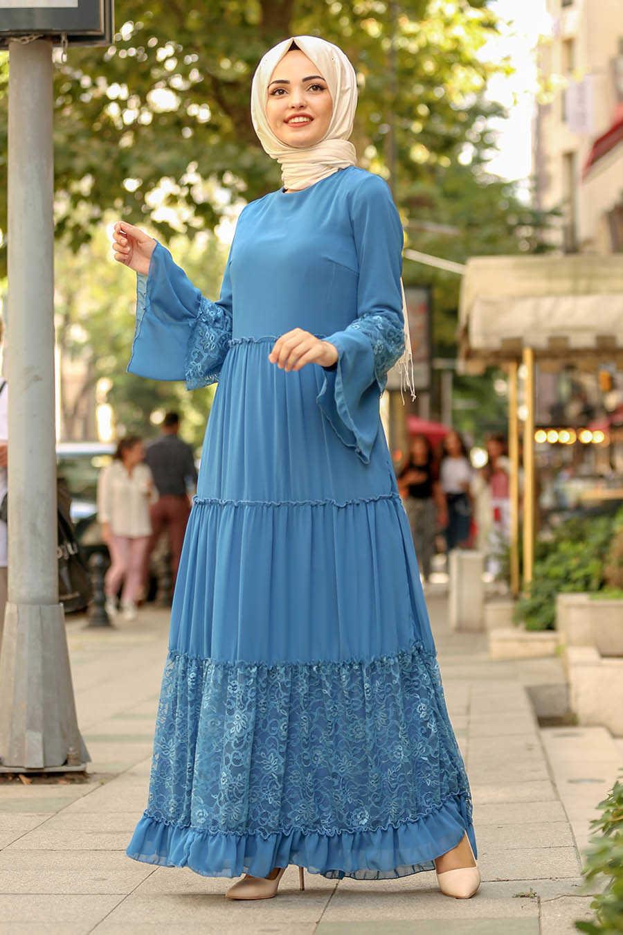 Dantelli İndigo Mavisi Tesettür Elbise 100415IM