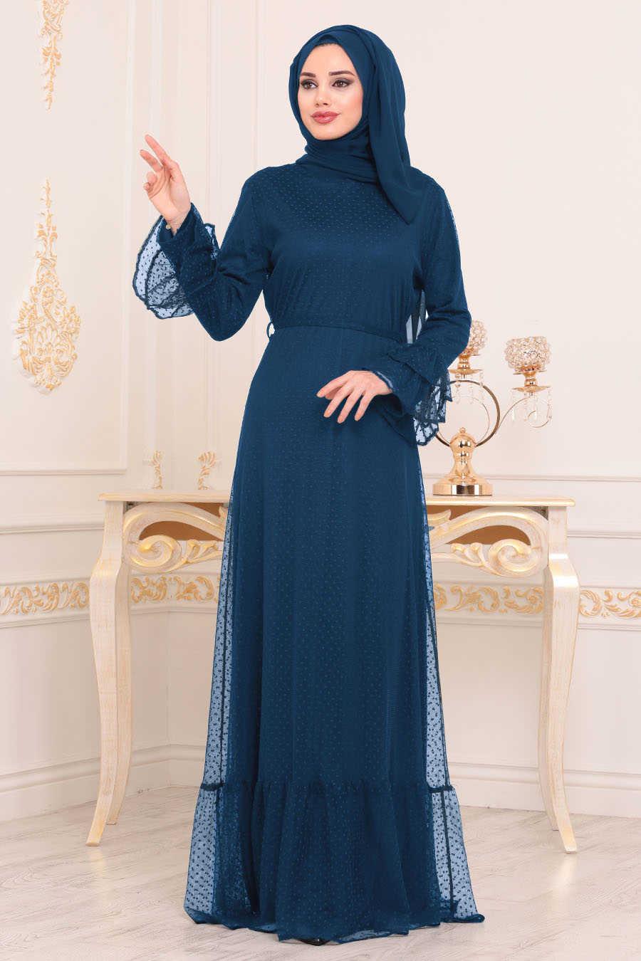 Neva Style - Indigo Blue Hijab Dress 42721IM