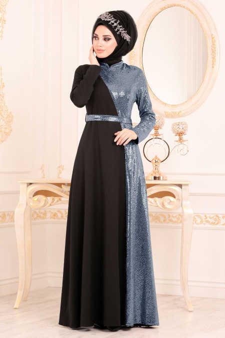 Kemerli İndigo Mavisi Tesettür Abiye Elbise 1234IM