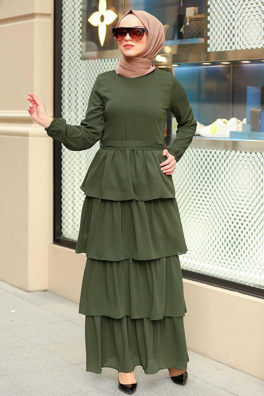 Fırfırlı Haki Tesettür Elbise 50001HK