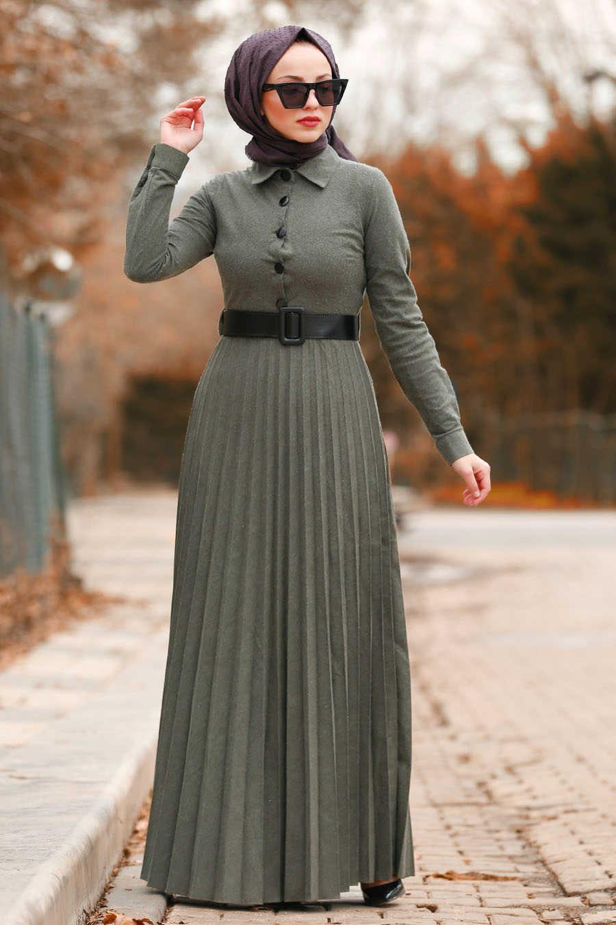 Düğmeli Kemerli Haki Tesettür Elbise 8396HK