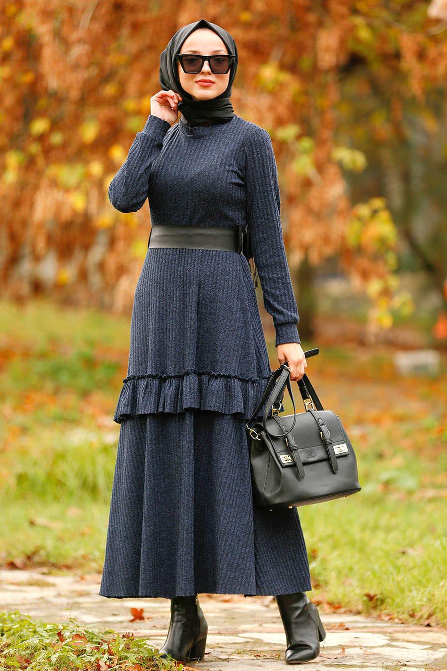 Fırfırlı Lacivert Tesettür Elbise 4021L