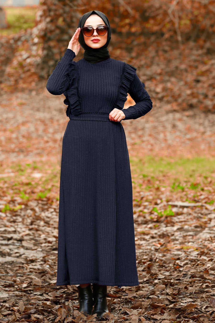 Fırfır Detaylı Lacivert Tesettür Elbise 4032L