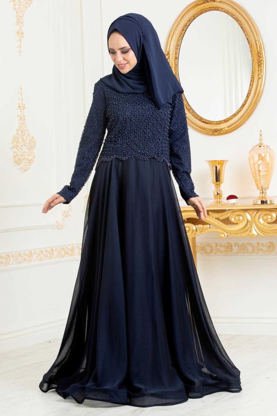Boncuk Detaylı Lacivert Tesettür Abiye Elbise 31260L