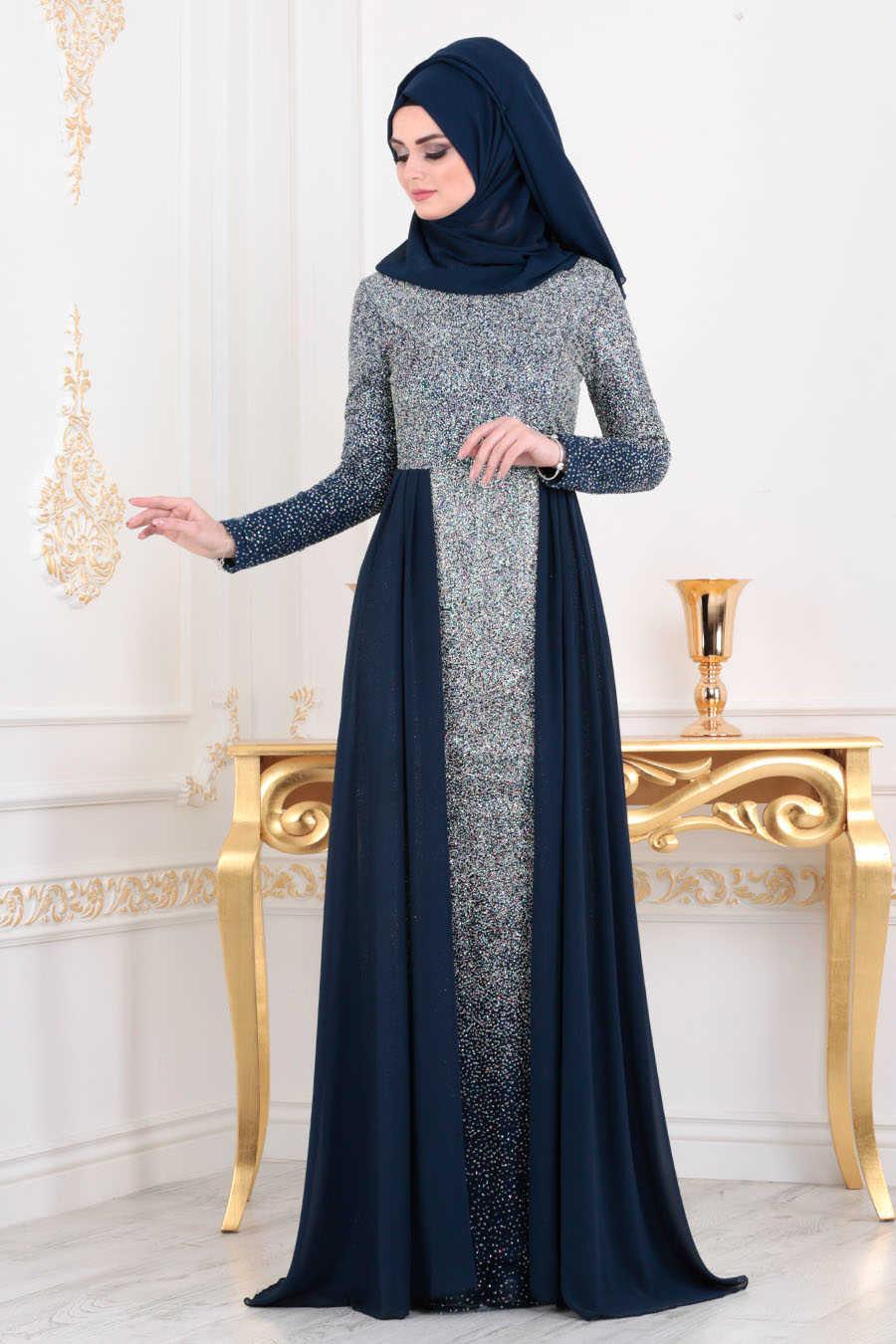 Simli Lacivert Tesettür Abiye Elbise 90020L
