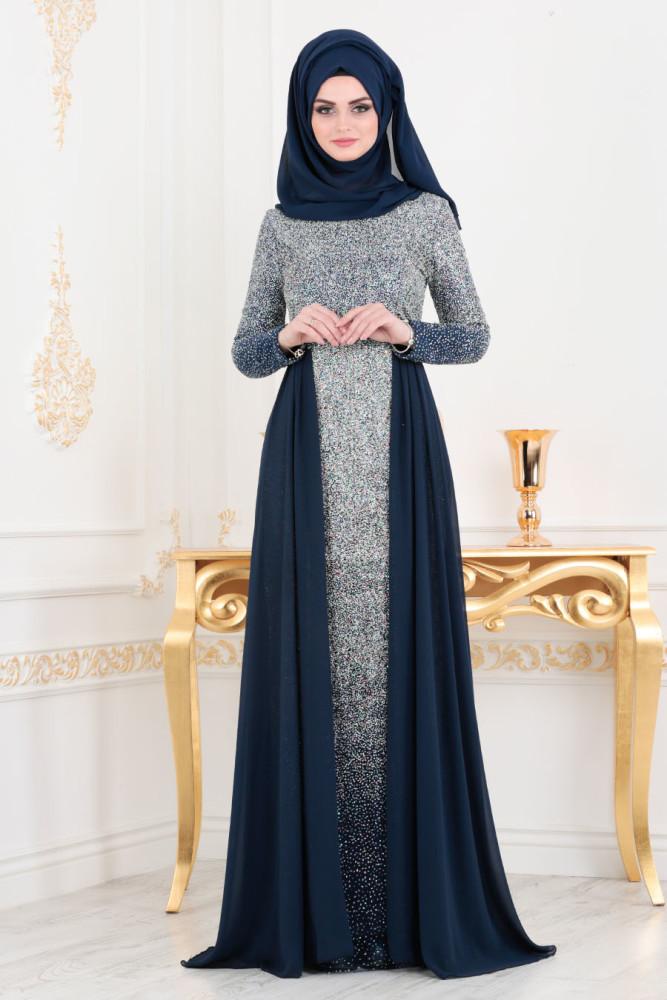 Simli Lacivert Tesettür Abiye Elbise 90020L - Thumbnail