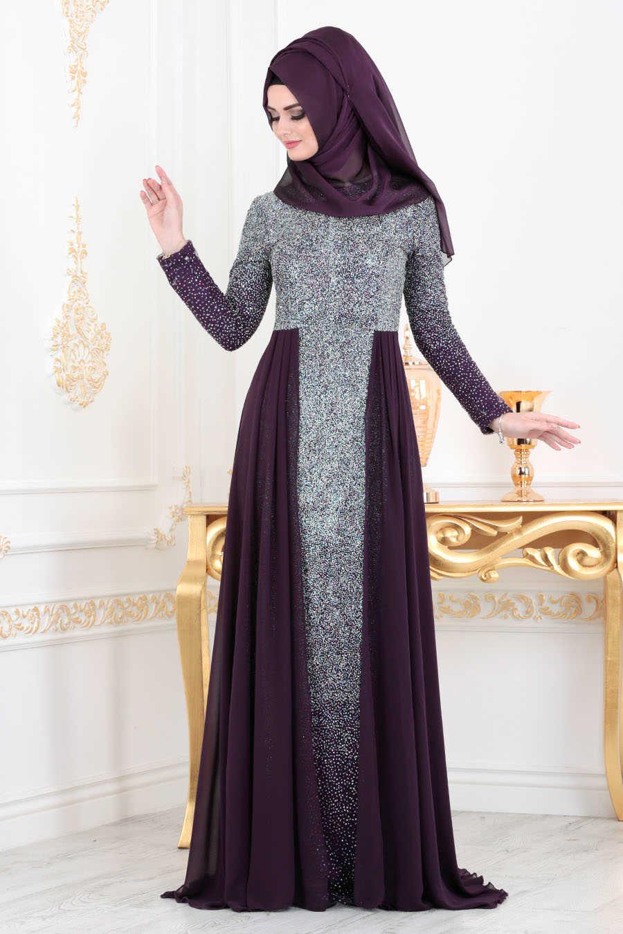 Simli Mürdüm Tesettür Abiye Elbise 90020MU
