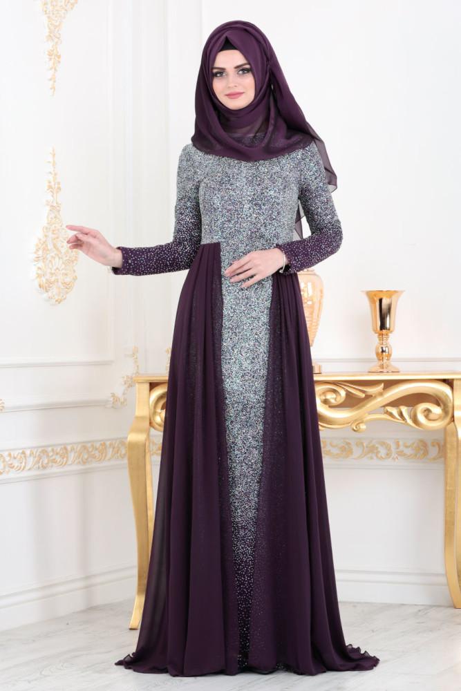 Simli Mürdüm Tesettür Abiye Elbise 90020MU - Thumbnail