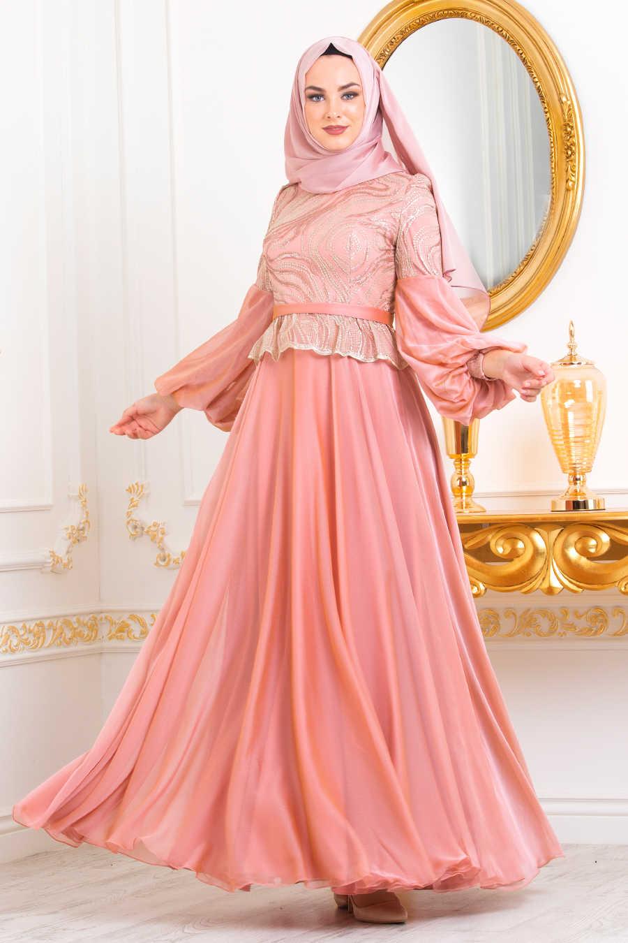 Balon Kol Pudra Tesettür Abiye Elbise 3731PD