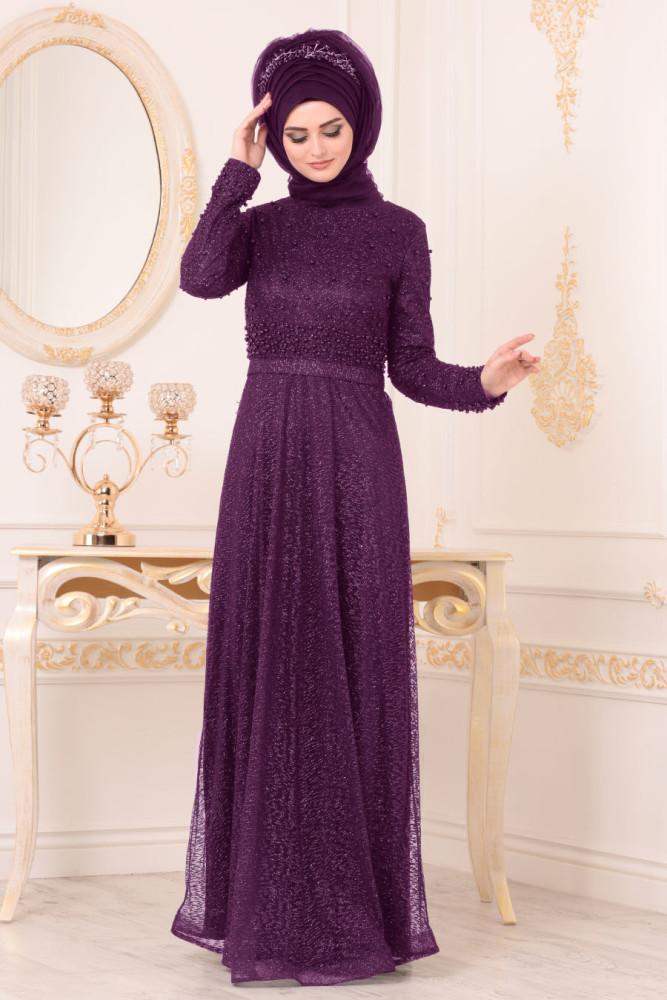 Boncuk Detaylı Mor Tesettürlü Abiye Elbise 32501MOR - Thumbnail