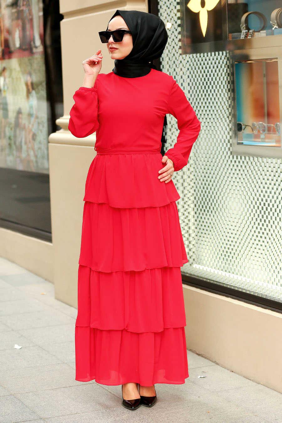 Fırfırlı Kırmızı Tesettür Elbise 50001K