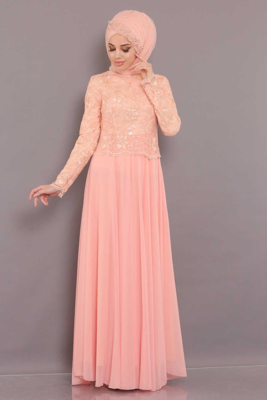 Dantel Detaylı Somon Tesettür Abiye Elbise 80650SMN