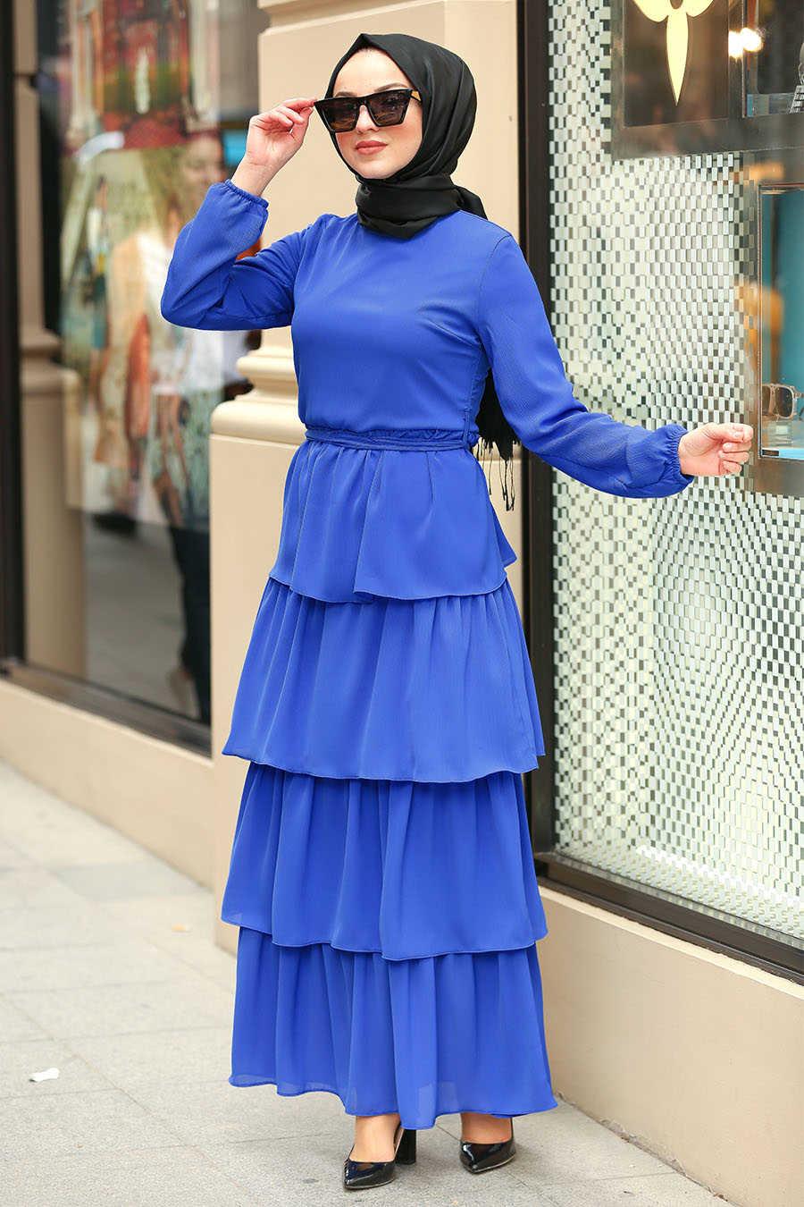 Fırfırlı Sax Mavisi Tesettür Elbise 50001SX