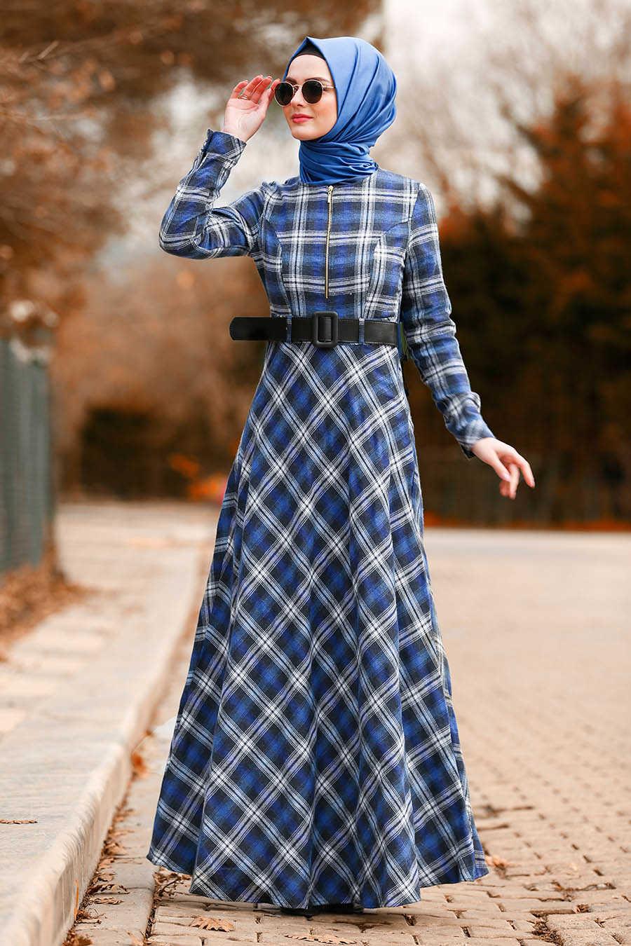 Fermuar Detaylı Ekoseli Sax Mavisi Tesettür Elbise 8387SX
