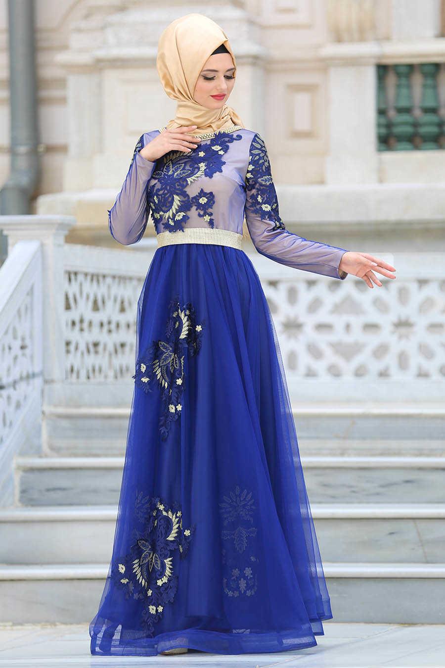 Yakası Taşlı Sax Mavisiı Tesettür Abiye Elbise 2757SX