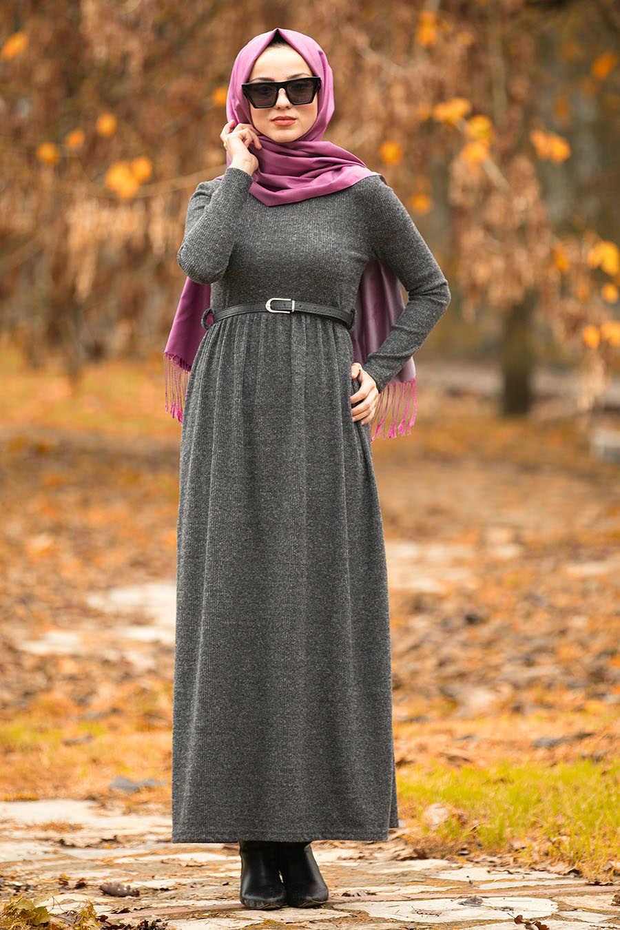 Kemerli Füme Tesettür Elbise 1603FU