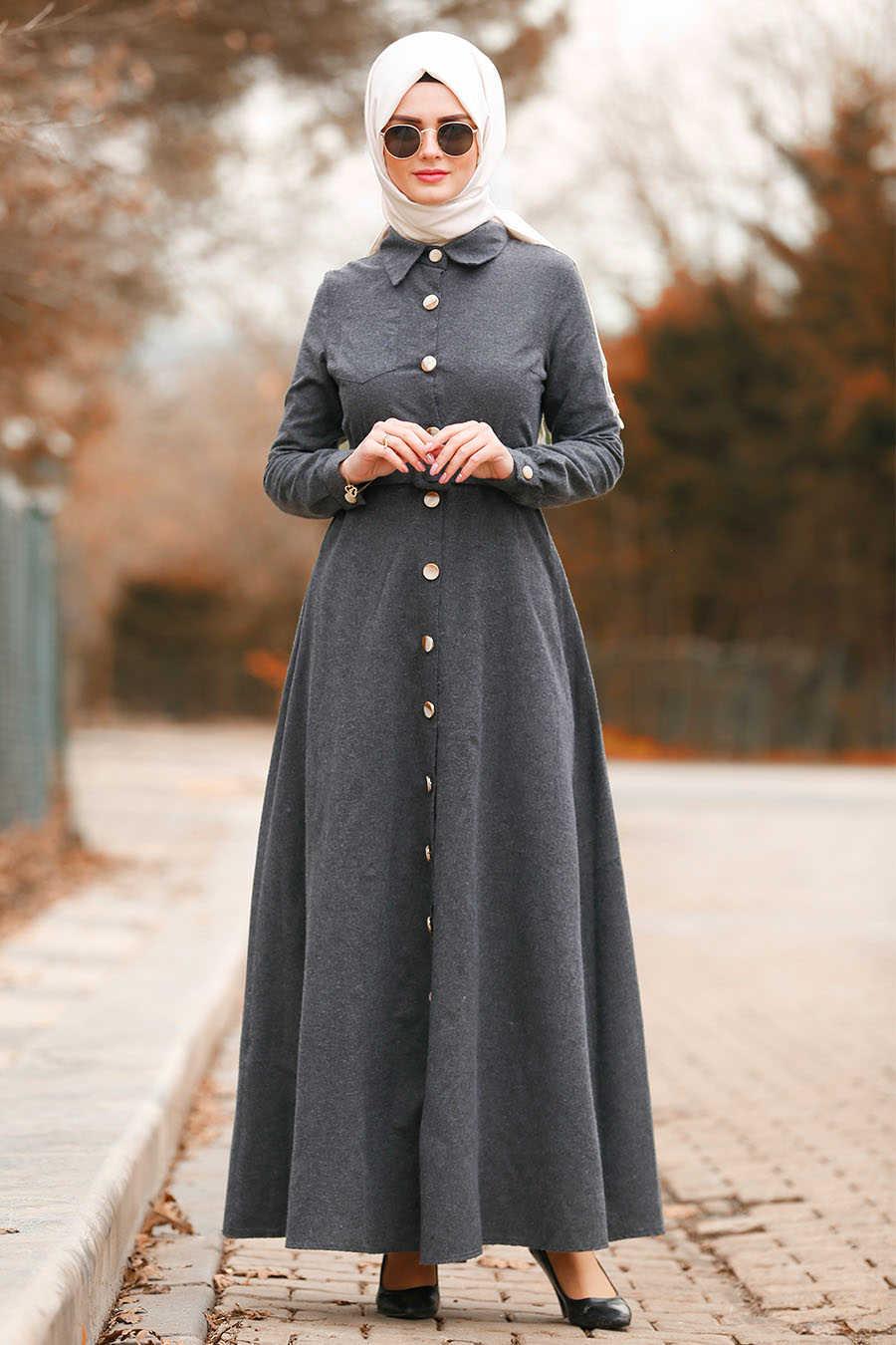 Düğmeli Kemerli Füme Tesettür Elbise 8409FU