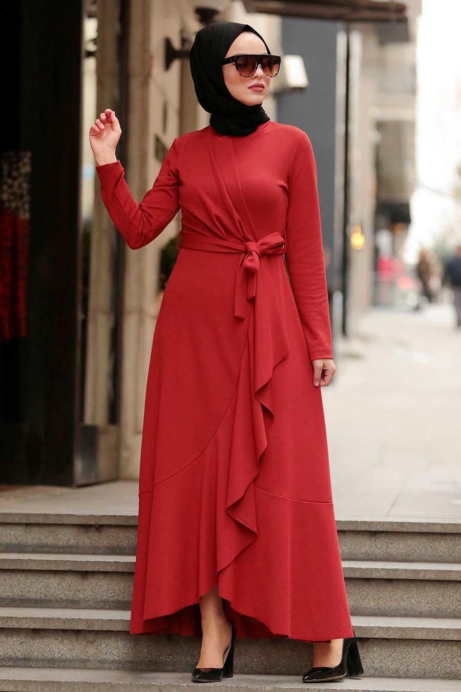 Kiremit Tesettür Çapraz Elbise 4041KRMT