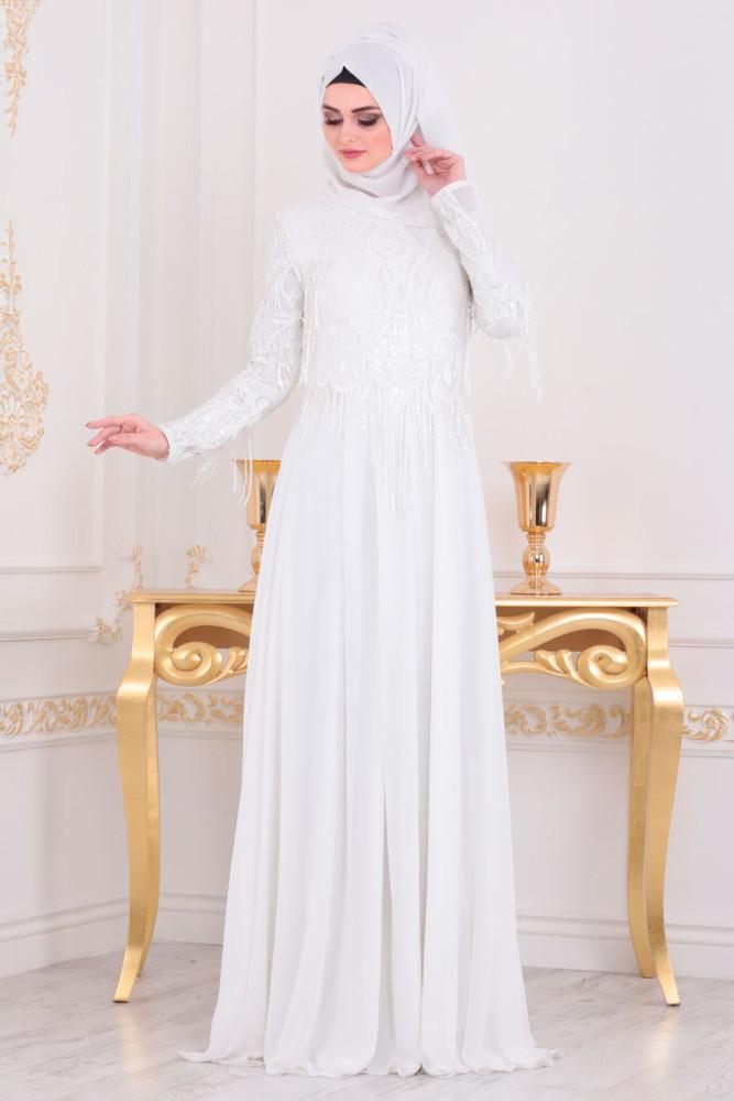 Püsküllü Beyaz Tesettür Abiye Elbise 4591B - Thumbnail