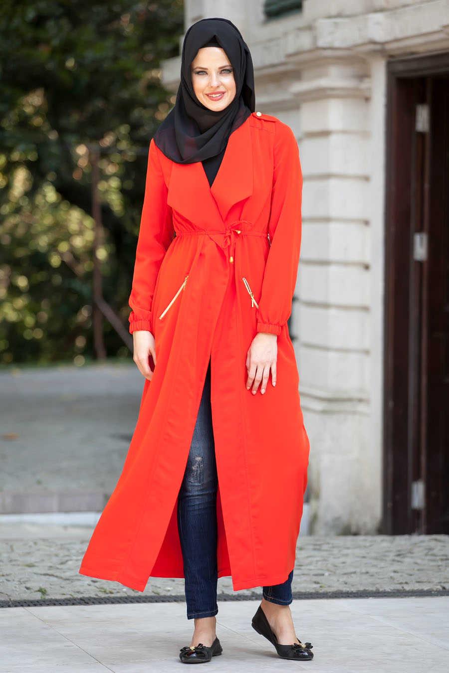 Orange Hijab Coat 5032T