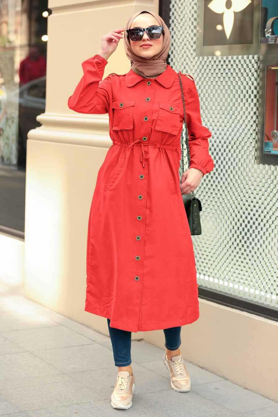 Orange Hijab Coat 5671T