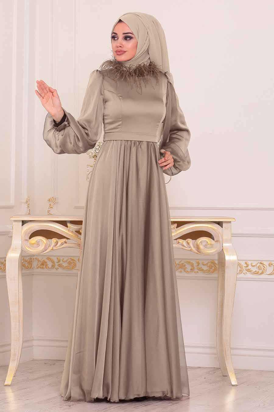 Otrişli Vizon Tesettür Abiye Elbise 3925V