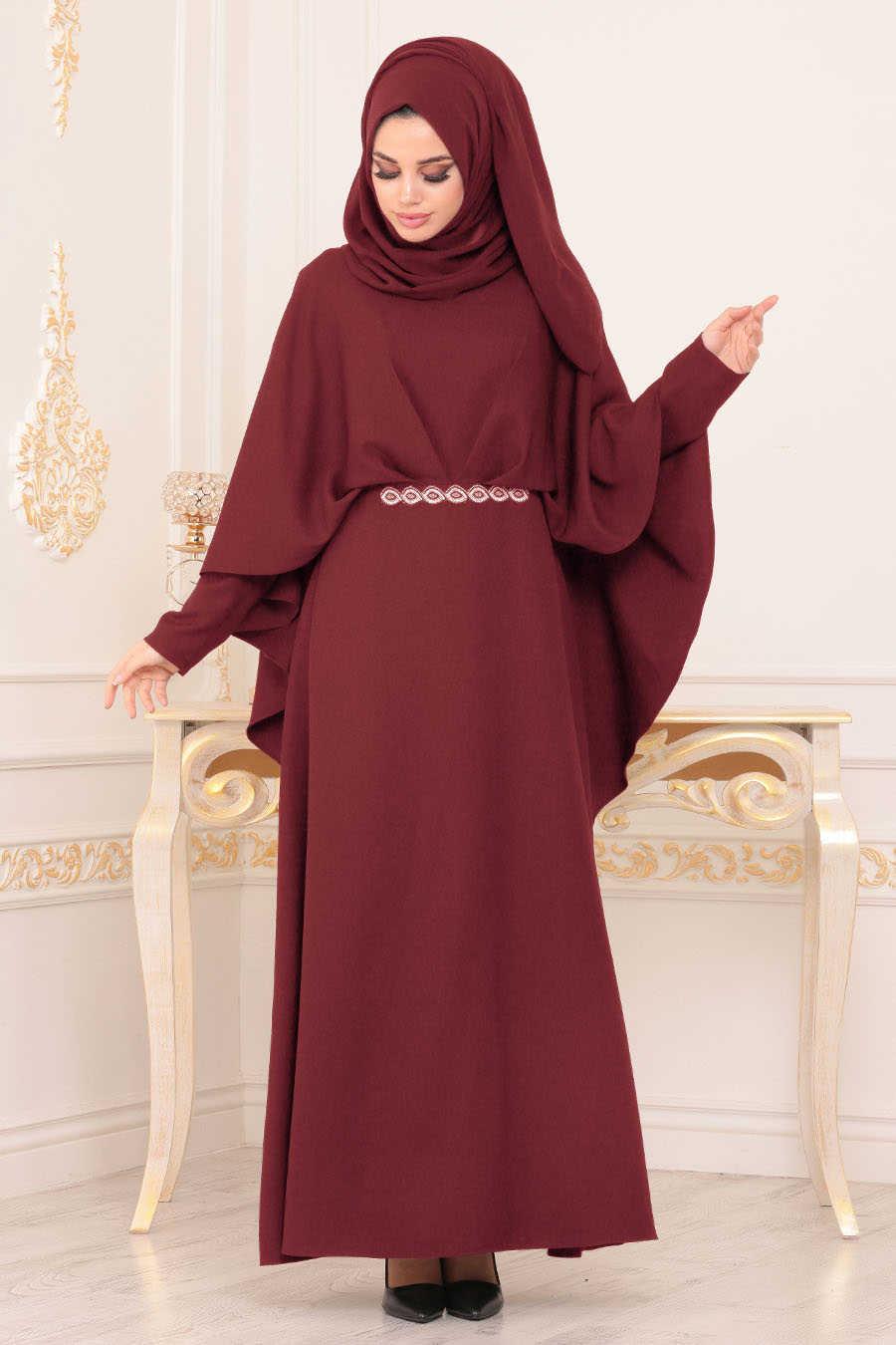 Pelerinli Bordo Tesettür Abiye Elbise 5002BR