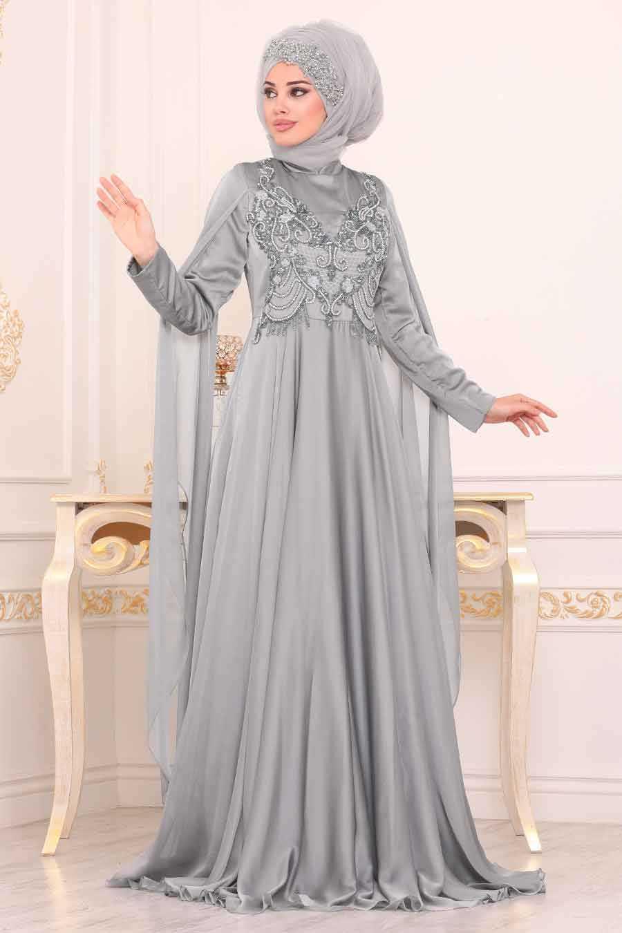 Pelerinli Gri Tesettür Abiye Elbise 38901GR