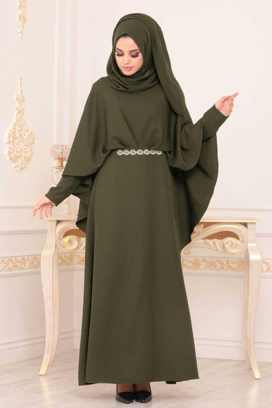 Pelerinli Haki Tesettür Abiye Elbise 5002HK