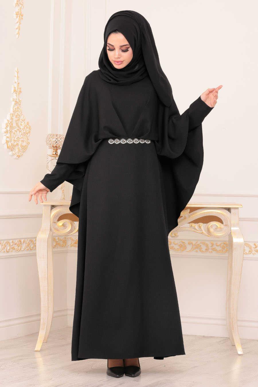 Pelerinli Siyah Tesettür Abiye Elbise 5002S