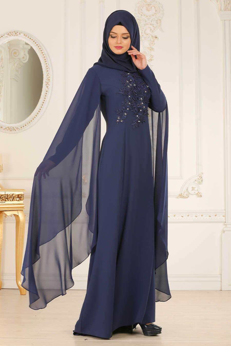 Petrol Blue Hijab Evening Dress 38380PM